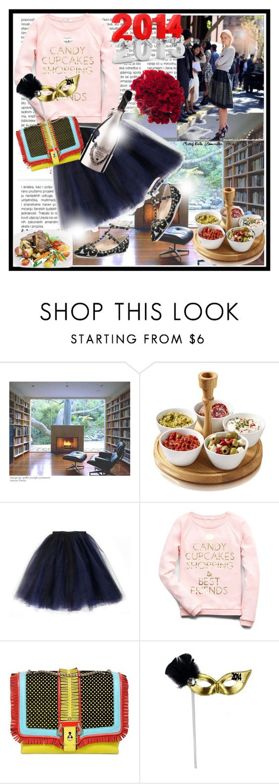 """""""New Year's Celebration"""" by carolineingrid ❤ liked on Polyvore featuring Charles and Ray Eames, Boska, Forever 21, Paula Cademartori, Dom Pérignon and Valentino"""