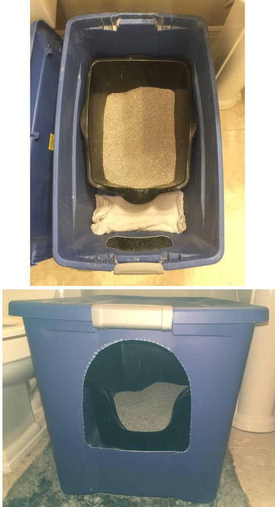 "I improved on the 30 gallon tote kitty litter box! Inside I put a high side flat bottom kitty litter box. It fits perfectly width wise but is about 5"" shorter. I push it all the way to the back and keep a folded towel between the door and the smaller box. Now when my big boy goes into the smaller box and pees towards the door it all goes on the towel which I change easily. No more washing rugs everyday and my other arthritic cat can still get in easily.  Woo Hoo!"