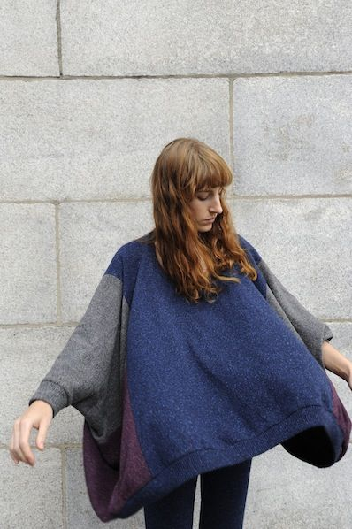 Marlos Patchwork Poncho Sweater