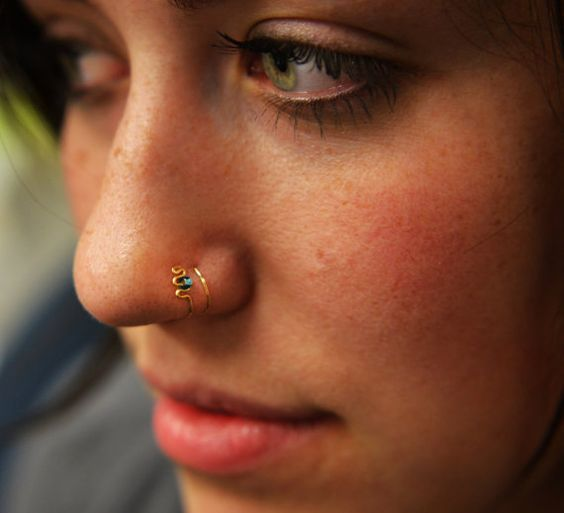 """Faux """"Double Loop"""" nose cuff with teal bead in gold, rose gold or sterling silver, faux nose ring, fake nose ring on Etsy, $24.50"""