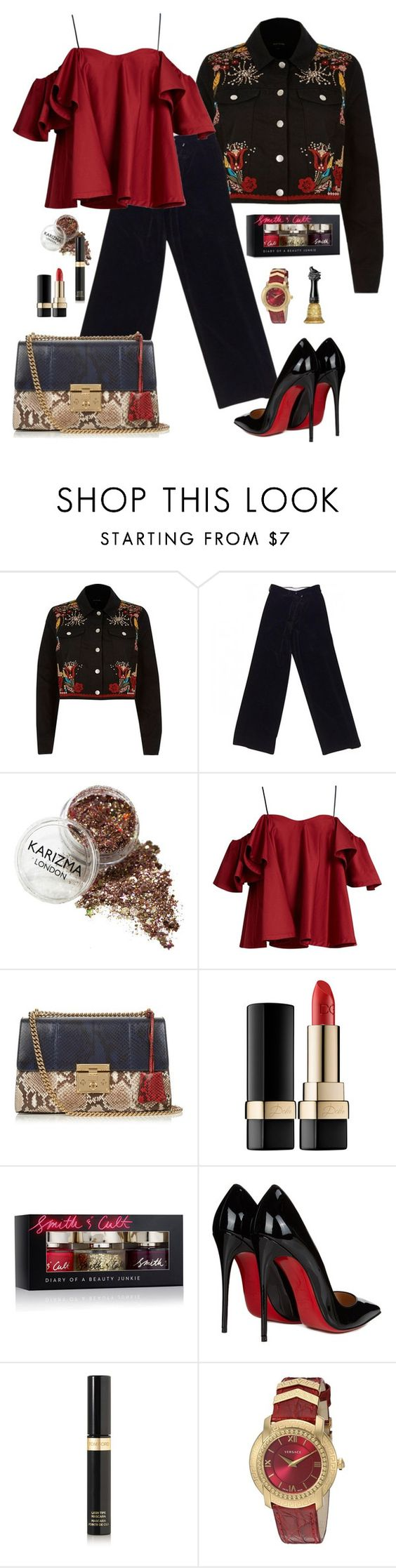 """""""Ready For Anything"""" by beleev ❤ liked on Polyvore featuring River Island, Hermès, Anna October, Gucci, Dolce&Gabbana, Smith & Cult, Christian Louboutin, Tom Ford, Versace and Anna Sui"""
