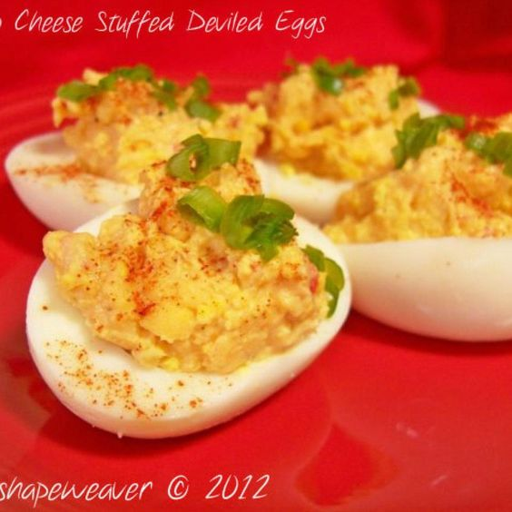 Pimento Cheese Stuffed Deviled Eggs Recipe | Just A Pinch Recipes
