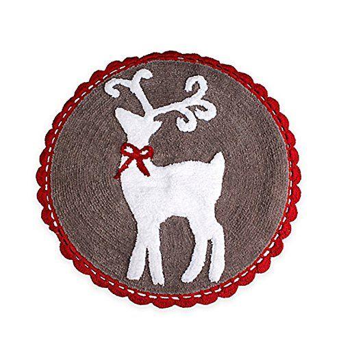 Reindeer Games Christmas Bath Rug Holiday Design 25 Inch Round