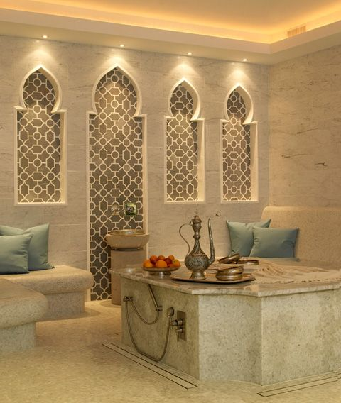 Vain glorious wall accents stone work and bath - Moroccon bathroom ...
