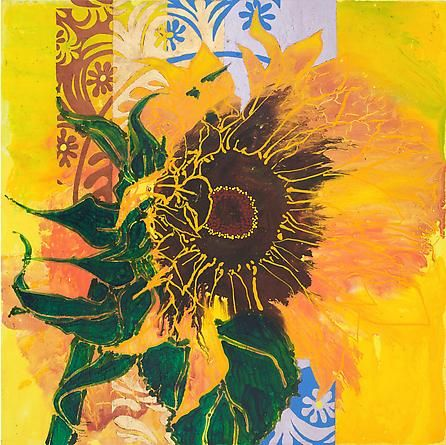 ROBERT KUSHNER-Sunflower Sunflare, 2011 Oil, acrylic, and gold leaf on canvas, 48x48 inches