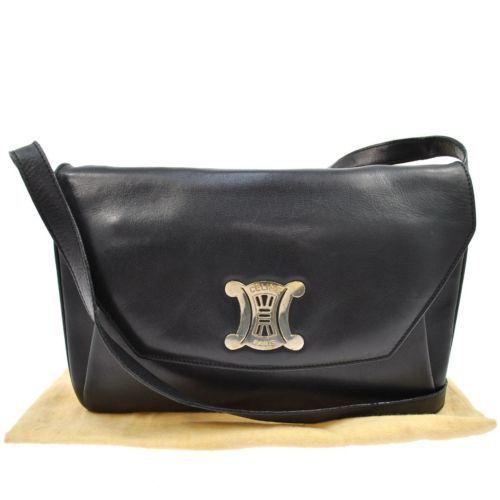 cost of celine bag - Authentic Celine Logos Shoulder Bag Black Gold Leather Italy ...