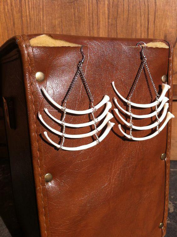 XL Real Snake Rib Earrings  Animal Bone Jewelry  by SavannaCrow, $45.00