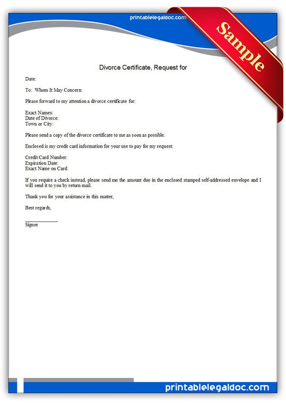 Free Printable Divorce Certificate, Request For | Sample Printable