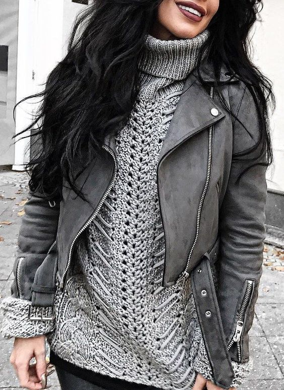 #fall #outfits Grey Leather Jacket // Grey Wool Turtleneck Knit