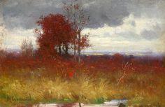 Joseph H Greenwood (1857-1927) ''Autumn Scene with Golden Brush''. Oil on panel.