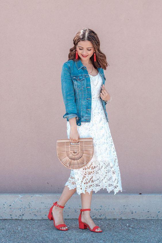 White Lace Crochet Slip Dress Denim Jacket Red Heels Cult Gaia Basket Bag Dupe Aria Red Strap Heel Sandals Blogger Outfit