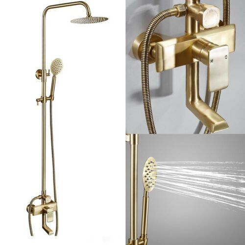 brushed gold exposed rain shower faucet