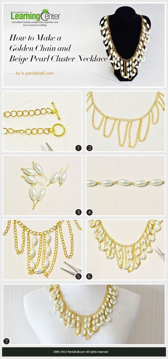 How to Make a Golden Chain and Beige Pearl Cluster Necklace