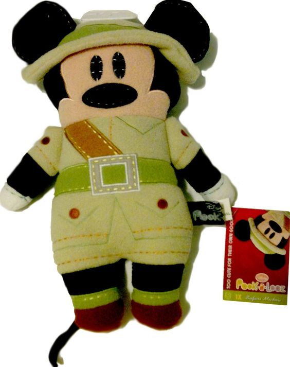 "Disney Safari Mickey Mouse Plush Kilimanjaro Jungle Pook-a-Looz  Pookalooz 12"""
