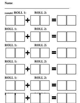 This is a template to guide students in an addition dice game.The students will roll the dice write the number and the corresponding dots in ...