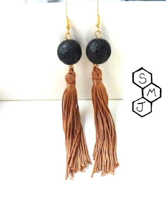 Lava -camel tassels earrings