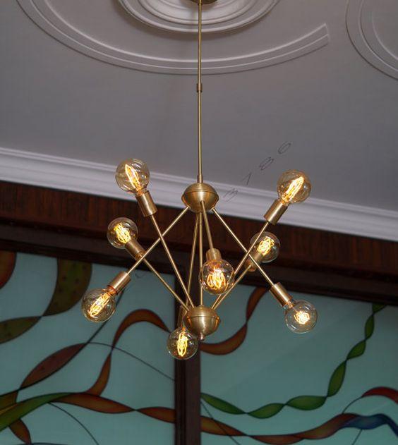 Mid-Century Brushed Brass Sputnik Starburst Light Fixture Chandelier - Industrial Modern fixture - BEST PRICE