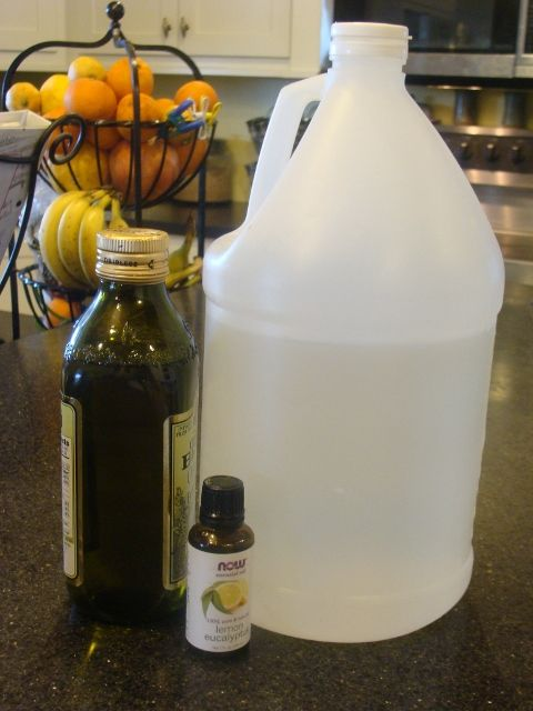 Leather Cleaner: 1/4 cup olive oil,  1/2 cup vinegar,   several drops lemon and eucalyptus oil (optional),   pour into a spray bottle, spray  and wipe down