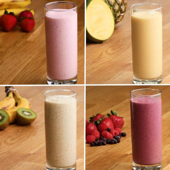 Easy Fruit Smoothies 4 Ways Serves 2 (per recipe) Strawberry, Banana, Raspberry…