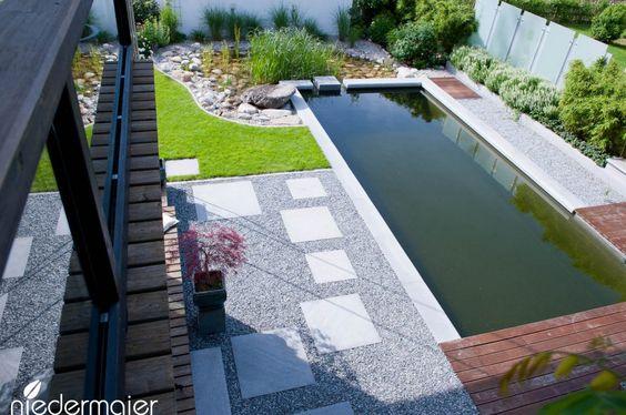 Naturpool im Lounge-Garten - Gartendesign Pflanzen für den - gartengestaltung reihenhaus pool