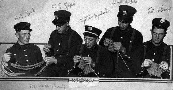 L.A. firemen knitting in 1917.  (LAPL)  Bizarre Los Angeles.: