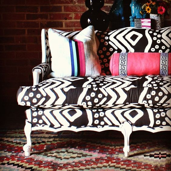 Global and modern.: Black And White, Dream House, Living Room, Black White, White Couches, White Sofa, Patterned Couch, Mudcloth Upholstery