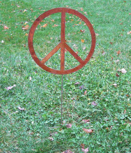 peace sign garden stake    garden art    yard art    wall