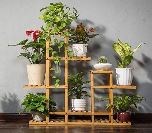 Bamboo Indoor Outdoor Garden Planter Flower Pots Stand Shelves Natual Multi Use Indoor Flower Pots Wooden Flowers House Plants Decor