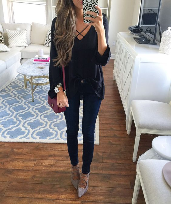 black lace up top + Paige jeans + lace-up heels from the #nsale