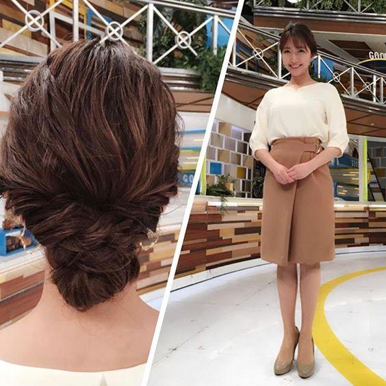 今日のグッディ衣装で白のトップスにベージュスカートの三田友梨佳アナの画像