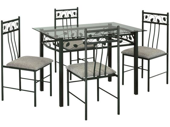 table rectangulaire en verre et m tal 4 chaises cuisine metals and ps. Black Bedroom Furniture Sets. Home Design Ideas