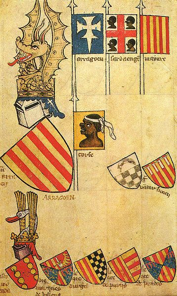 "Coat of Arms for the Kingdom of Aragon made between 1370-1440 A.D. It commemorates the four Moorish Kings killed in battle by Pedro VIII in 1096. Readers should note that the word ""Moor"" or ""Moorish"" ""Blackamoor"" does not mean a African Muslim, because in early European history all Africans were referred to as ""Moors"". Also, the word ""African"" was not used in ancient times, so Black People were usually referred to as ""Ethiopians"", Libyans, etc."