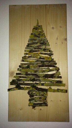 Selbstgemachte Winterdeco aus Naturmaterialien [Äste zurechtschneiden und mit feinen Nägeln beidseits festnageln].