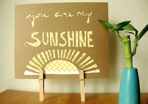 You are my sunshine papercut