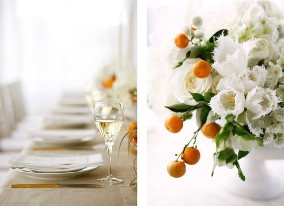 For a summer wedding, consider including citrus in your centerpieces. It's beautiful and fragrant!