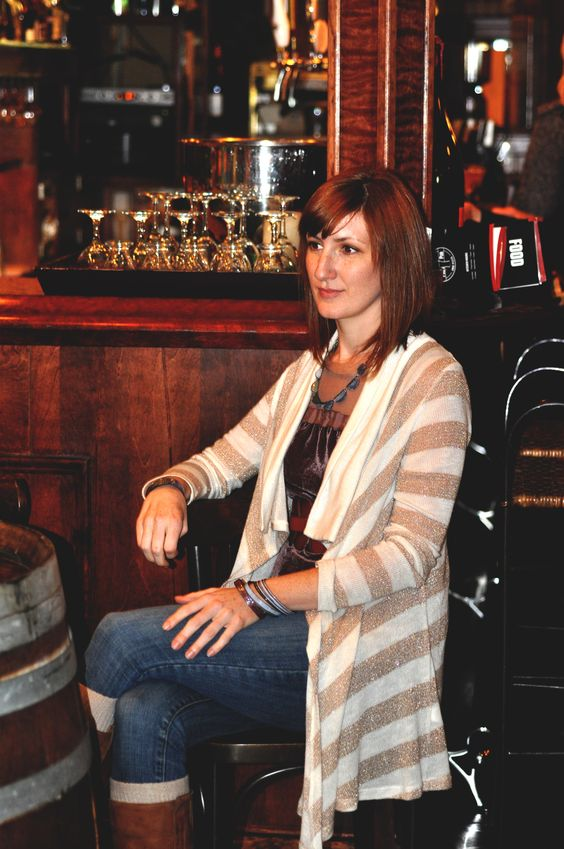 Wearing our 'HRH' Bangle Set,'Secret Message' Bangle and 'REGRET NOT' Cuff, model Mary Beth has a Drink at Pagnini's in Doylestown, PA.