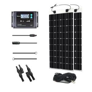 Renogy 200 Watt 12 Volt Monocrystalline Off Grid Solar System Solar Marine Kit Mar200dbvoy20ts The Home Depot Flexible Solar Panels Best Solar Panels Solar Panels