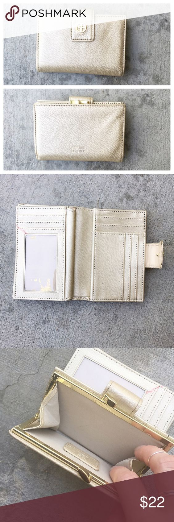 """Iridescent Cream Wallet Gorgeous versatile cream wallet in genuine leather! It has an iridescent shine to it and measures 5"""" long and 3.5"""" tall when folded. It has a cash slot, 19 card slots, a coin snap closure pocket and six other flat spaces. The only flaw is the very slight red mark seen in picture #2. Giani Bernini Bags Wallets"""