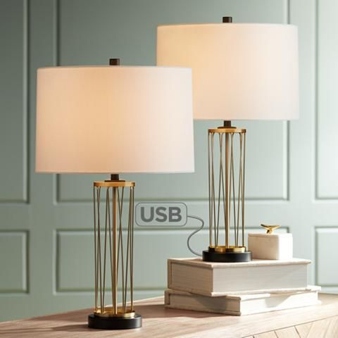 Nathan Gold Cage Usb Table Lamps Set Of 2 36w47 Lamps Plus In 2020 Gold Table Lamp Table Lamp Modern Table Lamp