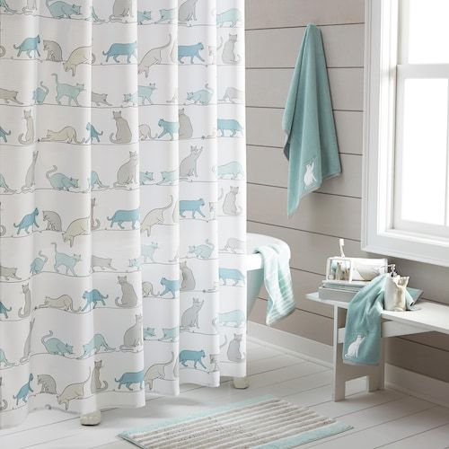 One Home Kitty Cat Shower Curtain Collection Cat Shower Curtain