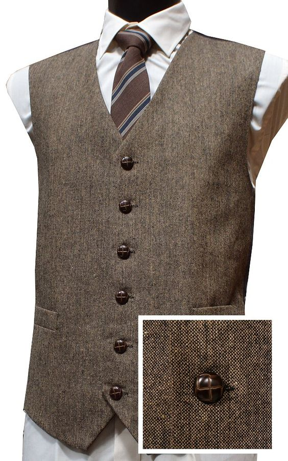 Classic Wool Handle Donegal Style Tweed Waistcoat Brown