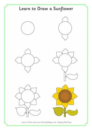 apprendre dessiner un tournesol pour cristiano pinterest apprendre dessiner comment. Black Bedroom Furniture Sets. Home Design Ideas