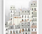 Paris illustration - Paris, Montmartre - Art illustration,Art prints,Art Posters,Paris art,Paris decor,wall decor,grey,white