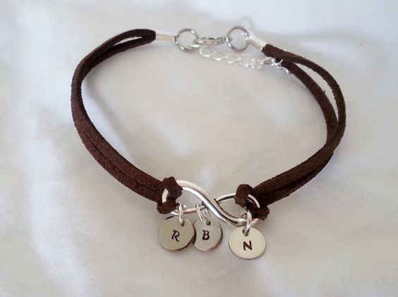 SALE -------------- Custom Hand Stamped Infinity Leather Bracelet with Personalized Initial Charms on Etsy, $8.99