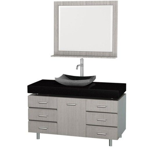 "Wyndham Collection Malibu 48"" Bathroom Vanity Set - Gray Oak Finish with Black Absolute Granite Counter, Black Granite Sink, and Handles WC-CG3000H-48-GROAK-BLK-GR"