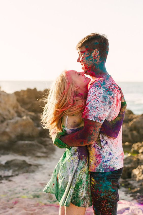 Couples enjoying the festival of colors