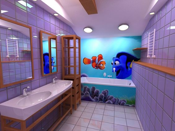 I want this bathroom, Nemo & Dori are welcome too.  Absolutely love the color!!!