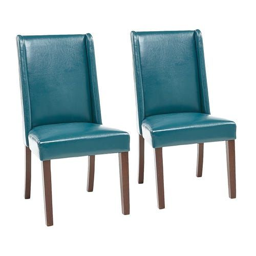 Oliver Teal Faux Leather Dining Chair, Teal Dining Room Chairs