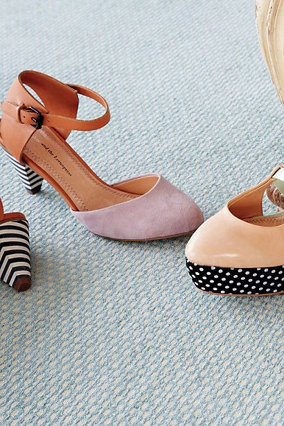 These Anthro shoes/heels are spectacular with the accent black & white stripes & polka dots design!