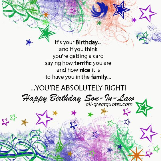 Free Birthday Cards For Son-In-Law - Happy Birthday Son-In-Law